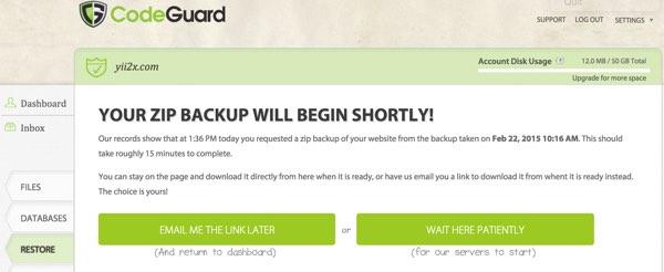 CodeGuard Restore Your Database Zip Will Begin Shortly
