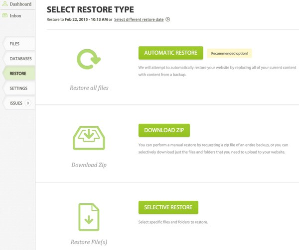 CodeGuard Select Restore Type