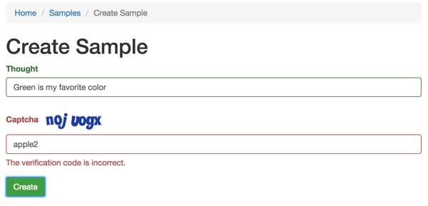 Yii2 Validators Sample CAPTCHA validation error