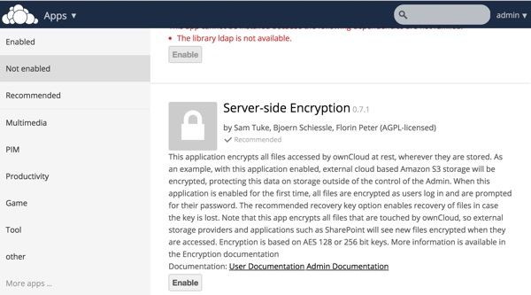 OwnCloud Apps Add Server-side Encryption