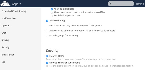 OwnCloud Security Enforce HTTPS