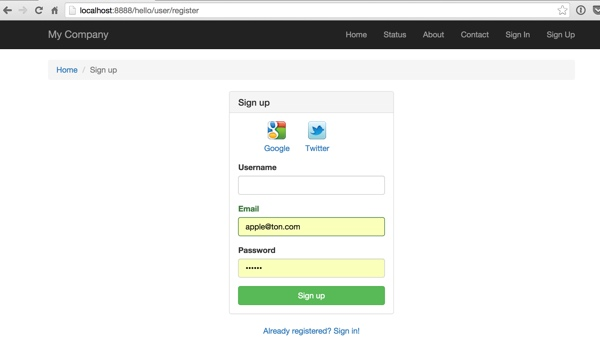 AuthClient Widget on Our Sign Up Page