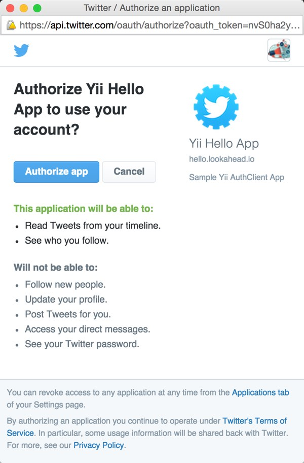 Twitter OAuth Authorize App