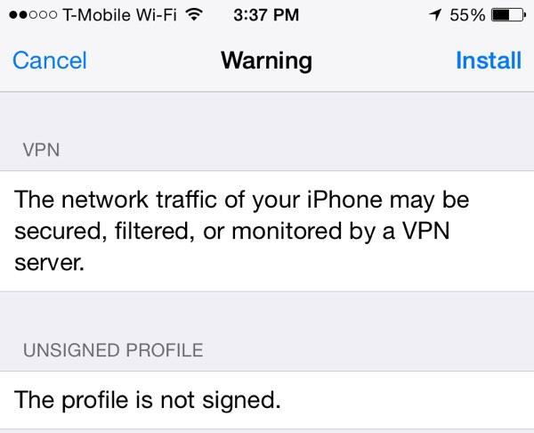 Using VPN iOS Network Profile Warning