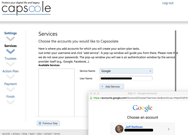 Capsoole Services Google Authentication