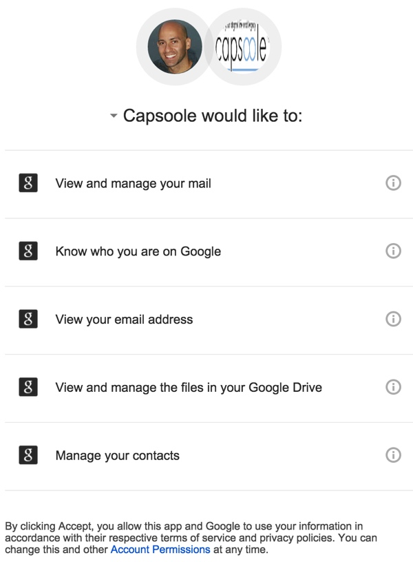 Capsoole would like to view and manage your email