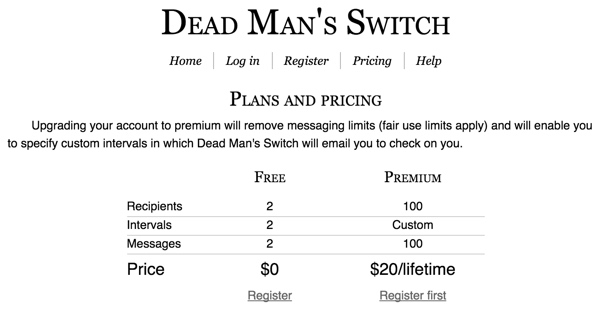 Dead Mans Switch Plans and Pricing