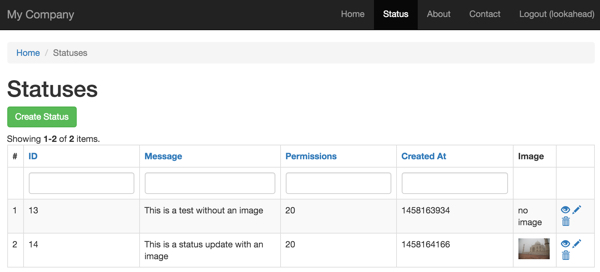 Yii2 Image Uploads - Enhanced Status Index with Uploaded Image Thumbnails