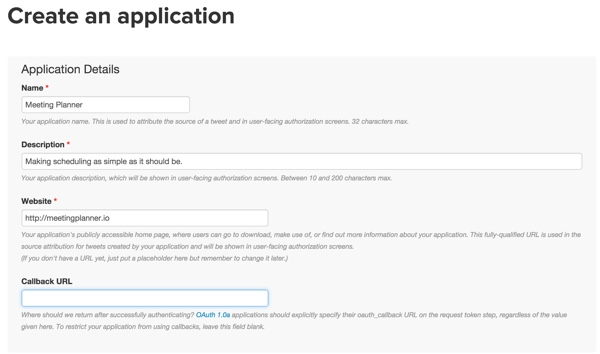Building Your Startup OAuth - Twitter Dev App Details