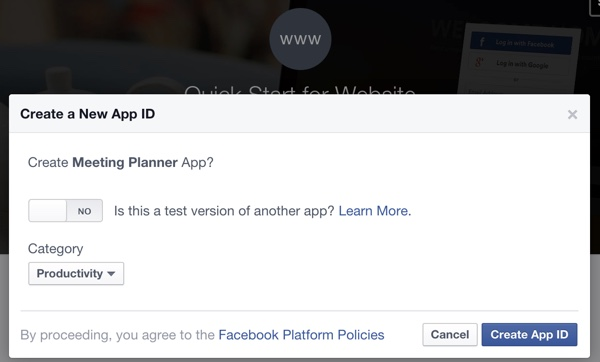 Building Your Startup OAuth - Facebook Dev Console Create an App Dialogs