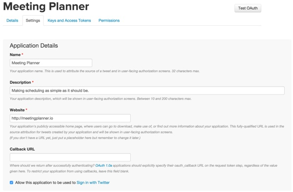 Building Your Startup OAuth - Twitter Dev App Settings