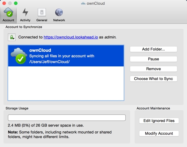 OwnCloud App Settings Account
