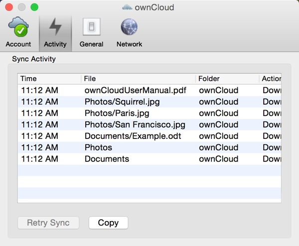OwnCloud App Settings Sync Activity