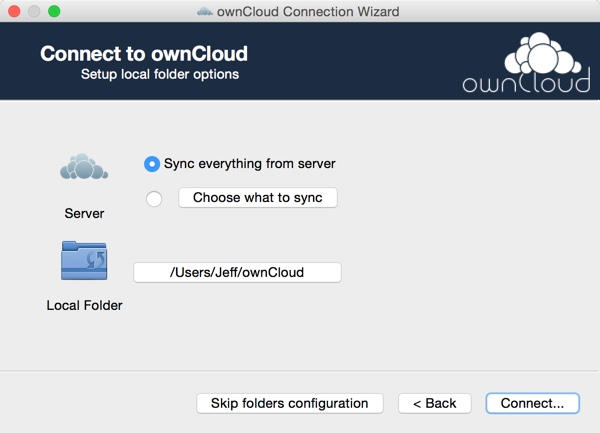 OwnCloud Setup the OS X App - Sync Options and Local Folder