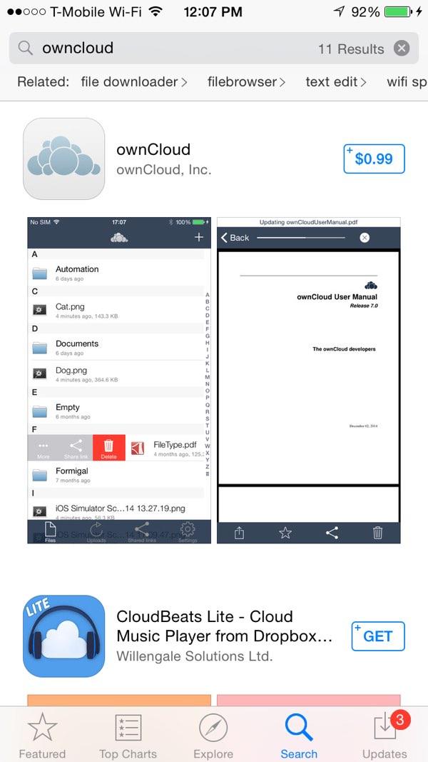 OwnCloud iOS App App Store