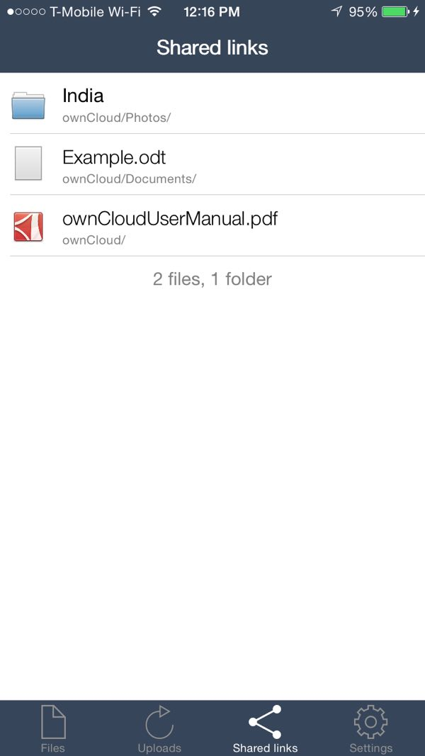 OwnCloud iOS App Shared links