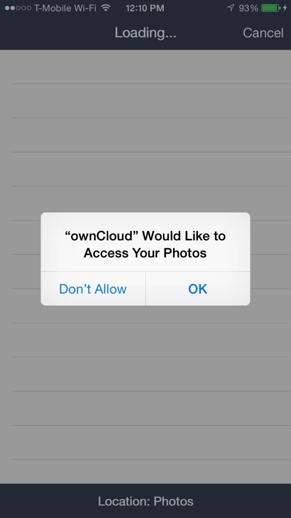 OwnCloud iOS App Grant Permissions