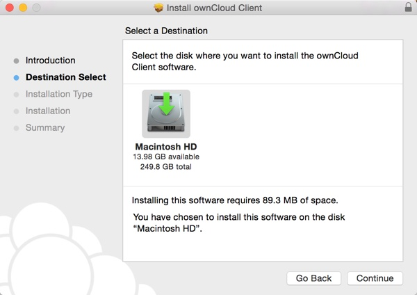 OwnCloud Installer on OS X Select a Destination