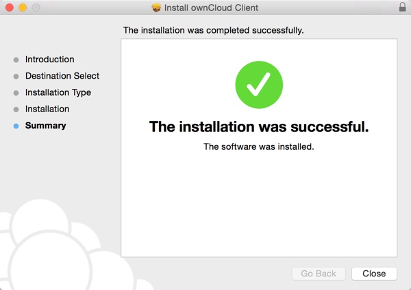OwnCloud Installer on OS X - Installation Successful