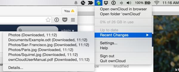 OwnCloud OSX Menu Bar