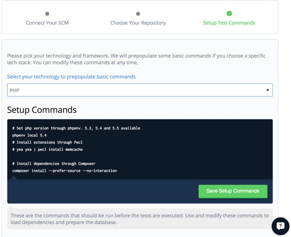 Codeship Setup Your Build Commands