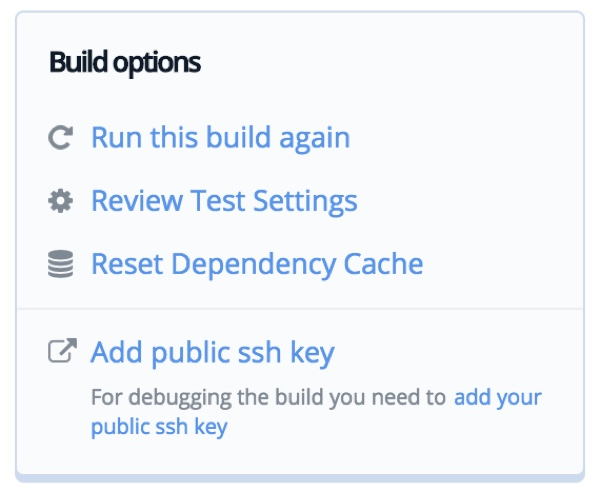 Codeship Build options menu