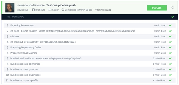 Codeship Single Pipeline Finishes in Ten Minutes