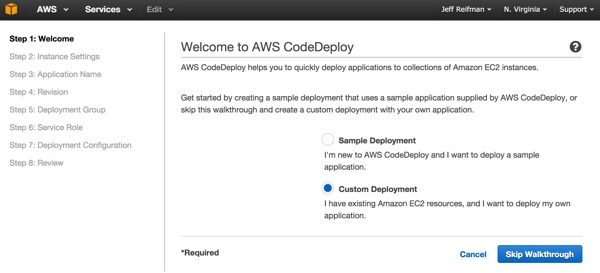 Codeship AWS Code Deploy Application Wizard