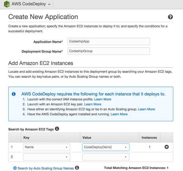 Codeship AWS Code Deploy Create New Application