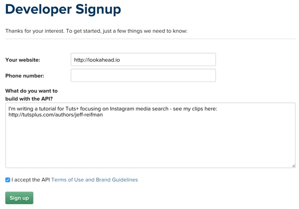 Instagram Developer Signup