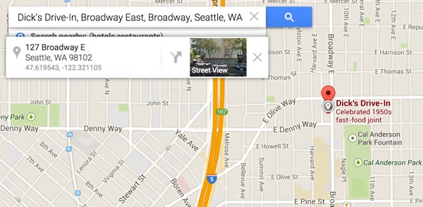 Dicks Drive In Broadway Seattle GPS in Google Maps