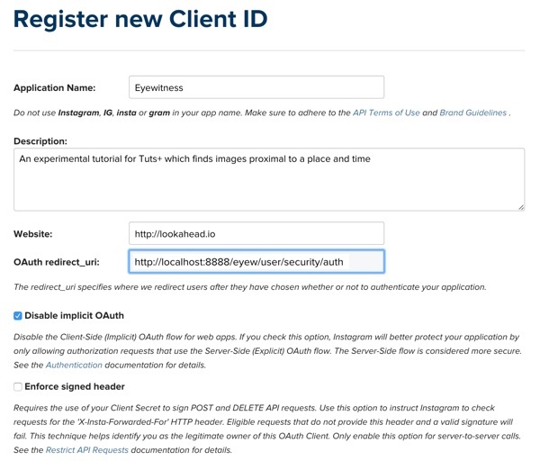 Instagram New Client Registration