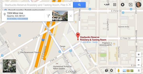 Starbucks Roastery in Seattle GPS in Google Maps
