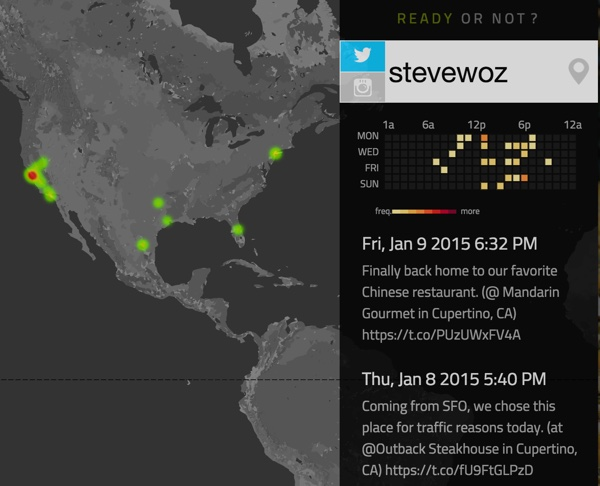 Ready or Not App Steve Wozniak Twitter Geolocation History