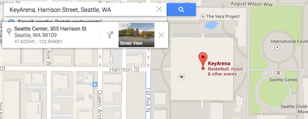 Key Arena Geolocation on Google Maps