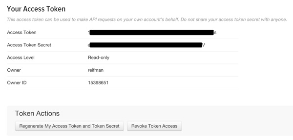 Twitter App Account Access Tokens
