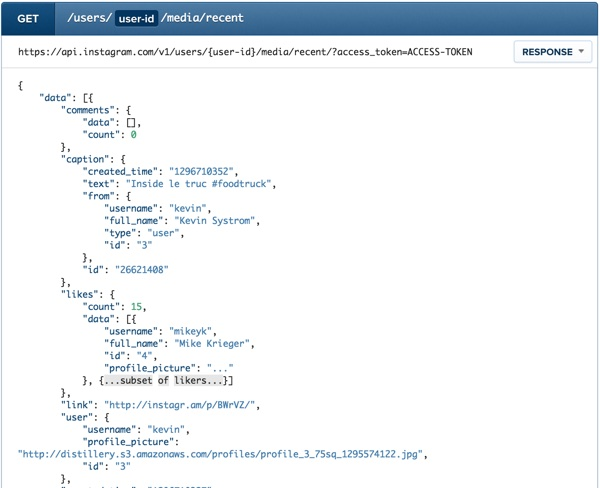 Instagram API Example Users Endpoint Get Recent Media