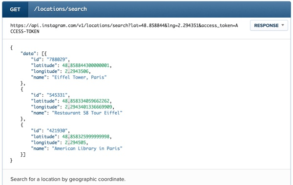 Instagram API Location Search