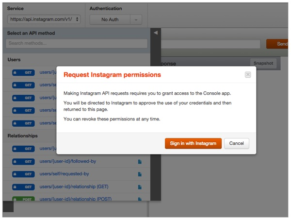 Instagram OAuth Authentication Example