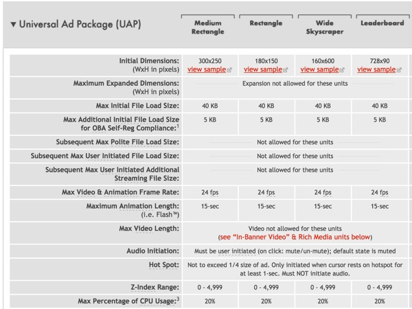 IAB Universal Ad Package UAP Guidelines