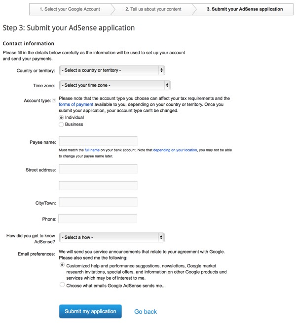 Google AdSense Three part sign up - step three