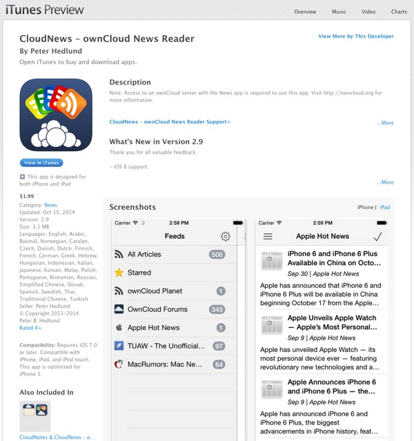 CloudNews iOS OwnCloud News Reader via iTunes