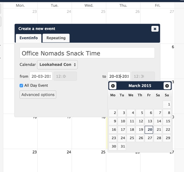 OwnCloud Calendar Create a New Event