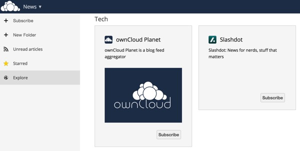 OwnCloud Explore Page