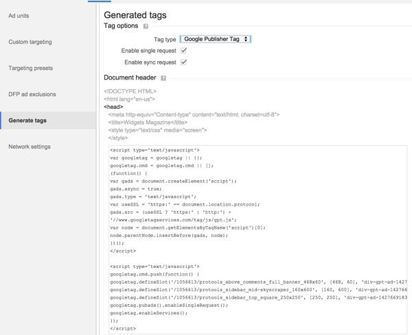 Google DFP Generate Tags Head Script