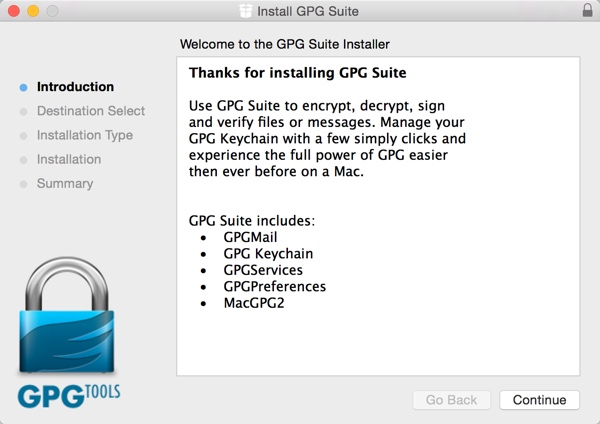 GPG Suite Installation Wizard