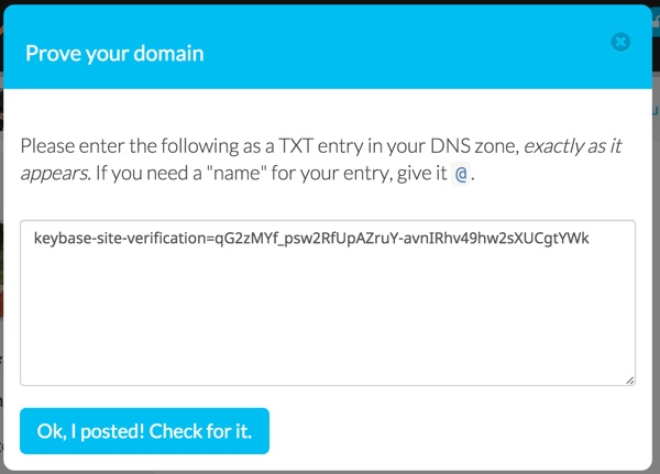 Keybase Prove Your Domain via DNS TXT Record