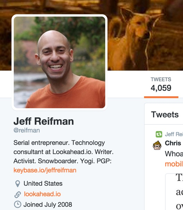 Linking to my Keybase profile from my Jeff Reifman Twitter account