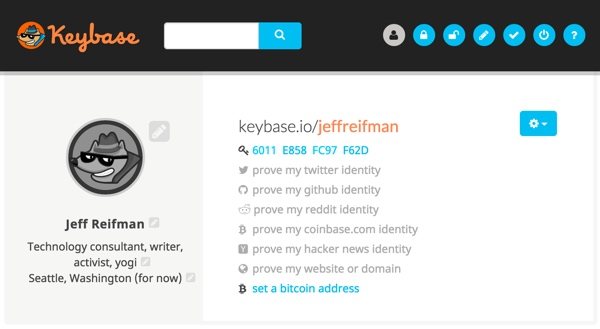 Keybase My Keybase Profile with my public key fingerprint