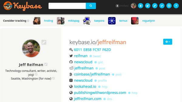Keybase Completed Keybase profile for Jeff Reifman